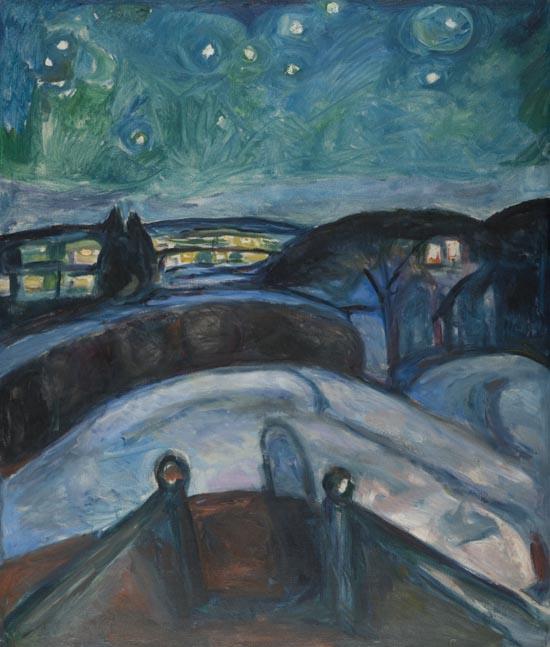 Edvard Munch. Noche estrellada, 1922-1924 Óleo sobre lienzo 140 x 119. Oslo, Munch-museet. Foto © Munch Museum / Munch-Ellingsen Group / VEGAP, Madrid 2015