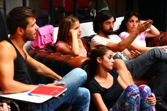 Darío Facal, en el centro, con sus alumnos en Work in progress